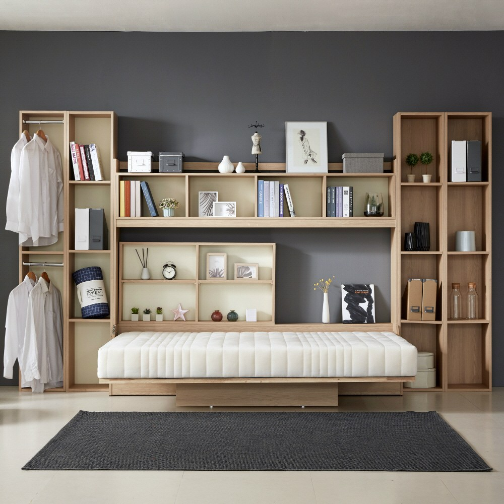 오키미키 폴딩 월베드 접이색 침대 프레임 슈퍼싱글, 단일 색상