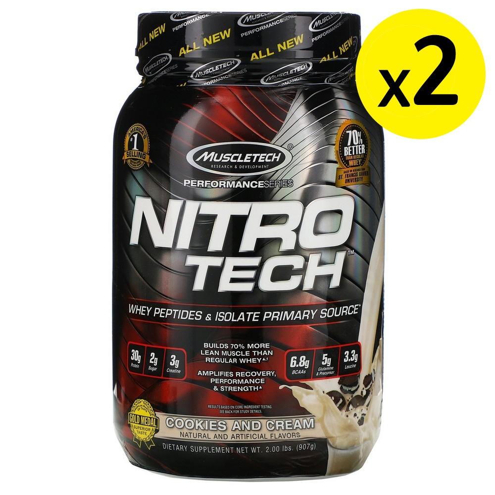 [미국직구]Muscletech 니트로 테크 유청 단백질 + 지방이 적은 근육 빌더 쿠키앤크림 2.00lb (907g) 2개, 선택, 상세설명참조