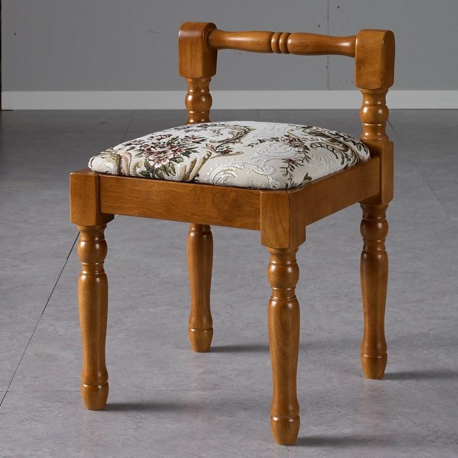 신라목재 4203 스툴 보조의자 화장대의자 간이의자 인테리어의자 원목의자, 43]플라워-엔틱
