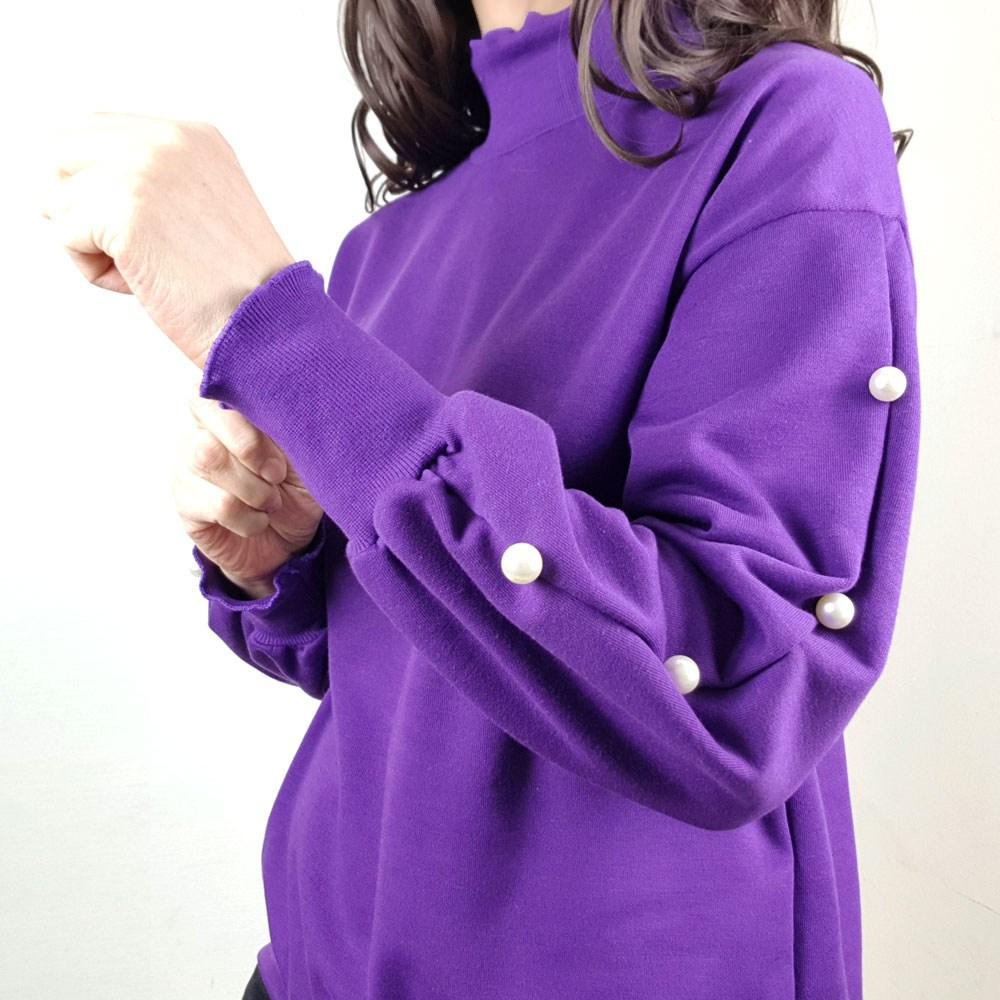 지나블리스 기모 폴라 진주 단추 소매 티셔츠 1912042 긴팔