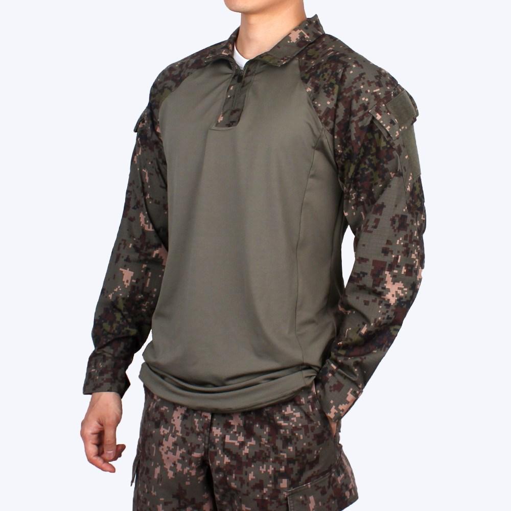 군화와고무신 모던 전술 컴뱃셔츠 긴팔 디지털 - 군인긴팔 군용 티셔츠