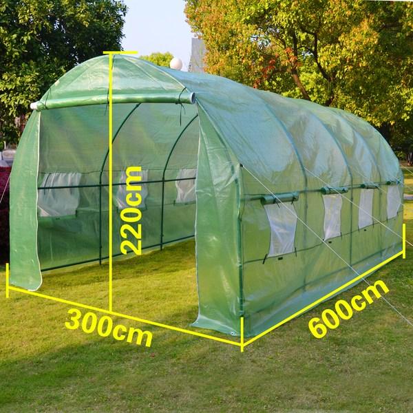 . 조립식 대형 옥상 정원 주택 집 앞 비닐 하우스 온실 1+1, 6x3x2.2m 이중 도어 녹색 8 창