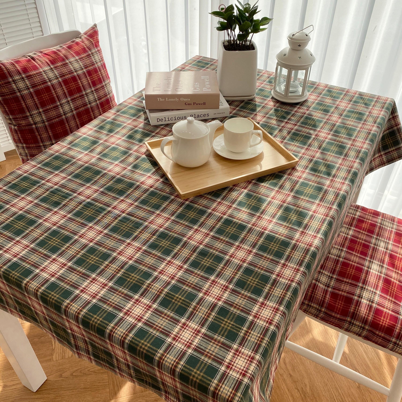 크리스마스 식탁보 뉴체크 테이블보 러너, 원형, 그린