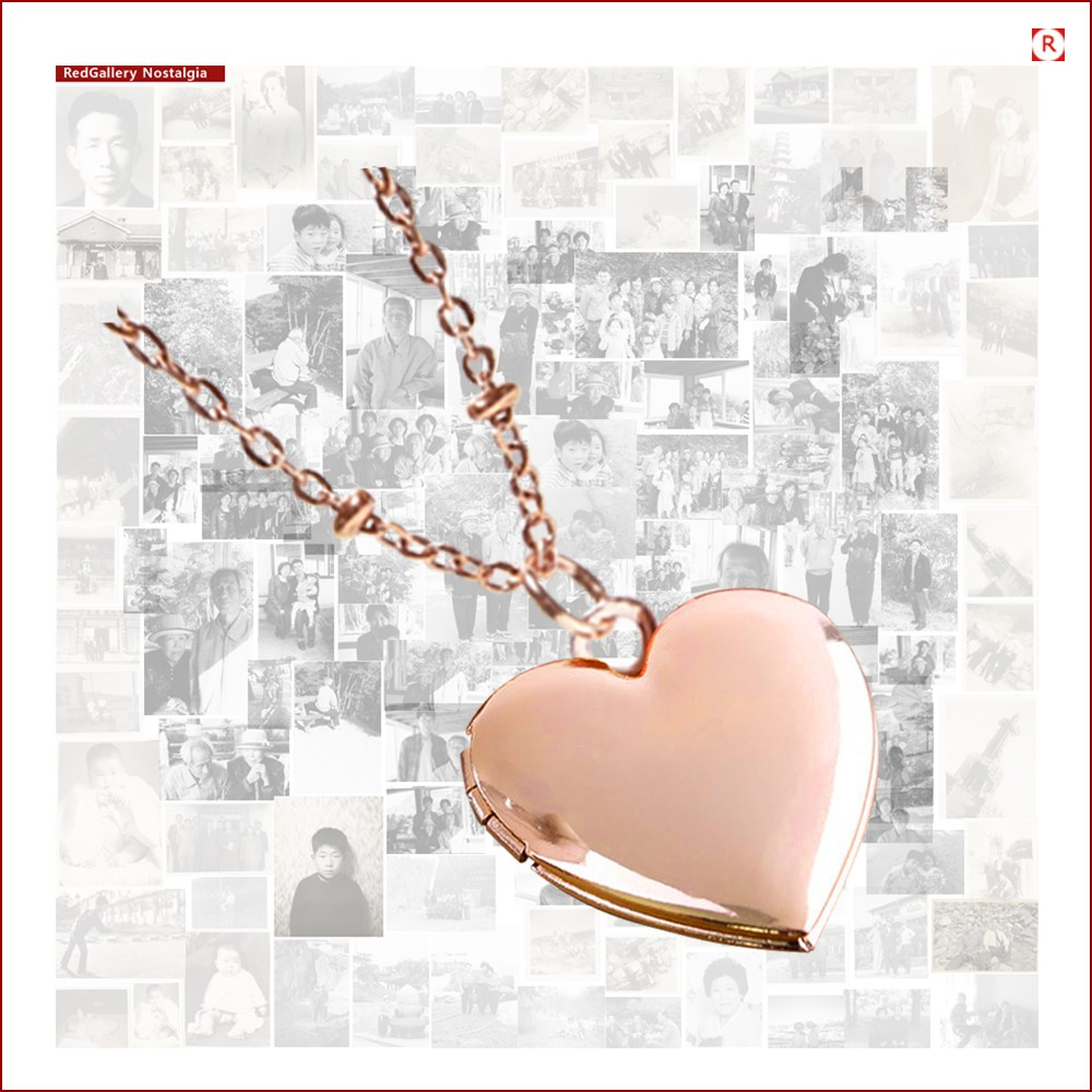 사진목걸이 사랑해Heart 사진팬던트 +각인 전사서비스 + 선물케이스 +보증서 Rose