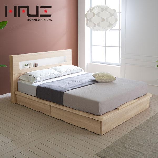보루네오하우스 프라임 루시 LED 서랍평상형 독립스프링 SS 침대 DM6027, 메이플
