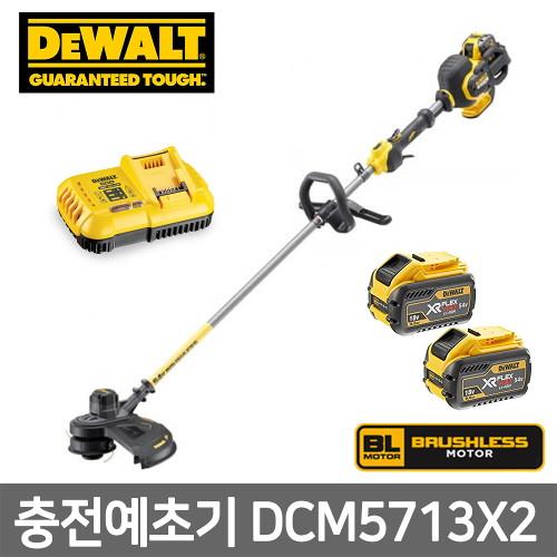 디월트 충전예초기 DCM5713X2 54V 3.0Ah 배터리2개, 단품없음