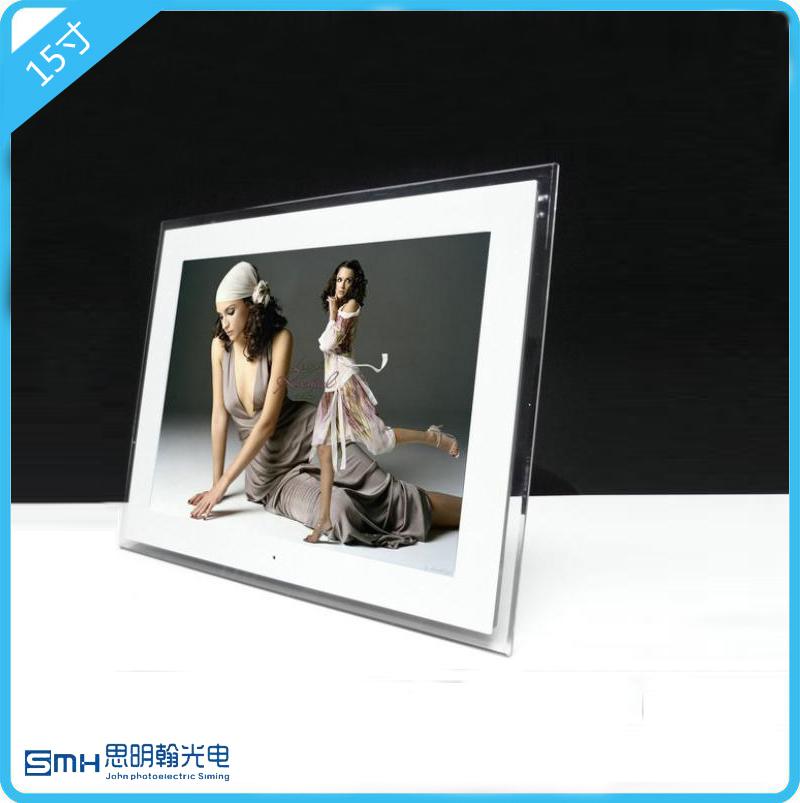 디지털액자 SHARP액정/15inch선명한 디지털 사진프레임 다용도 전자 액자/1024x768/AA화면, T11-15인치화이트 아크릴