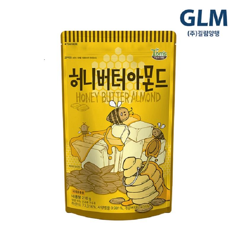 탐스팜 허니버터아몬드, 210g, 4개