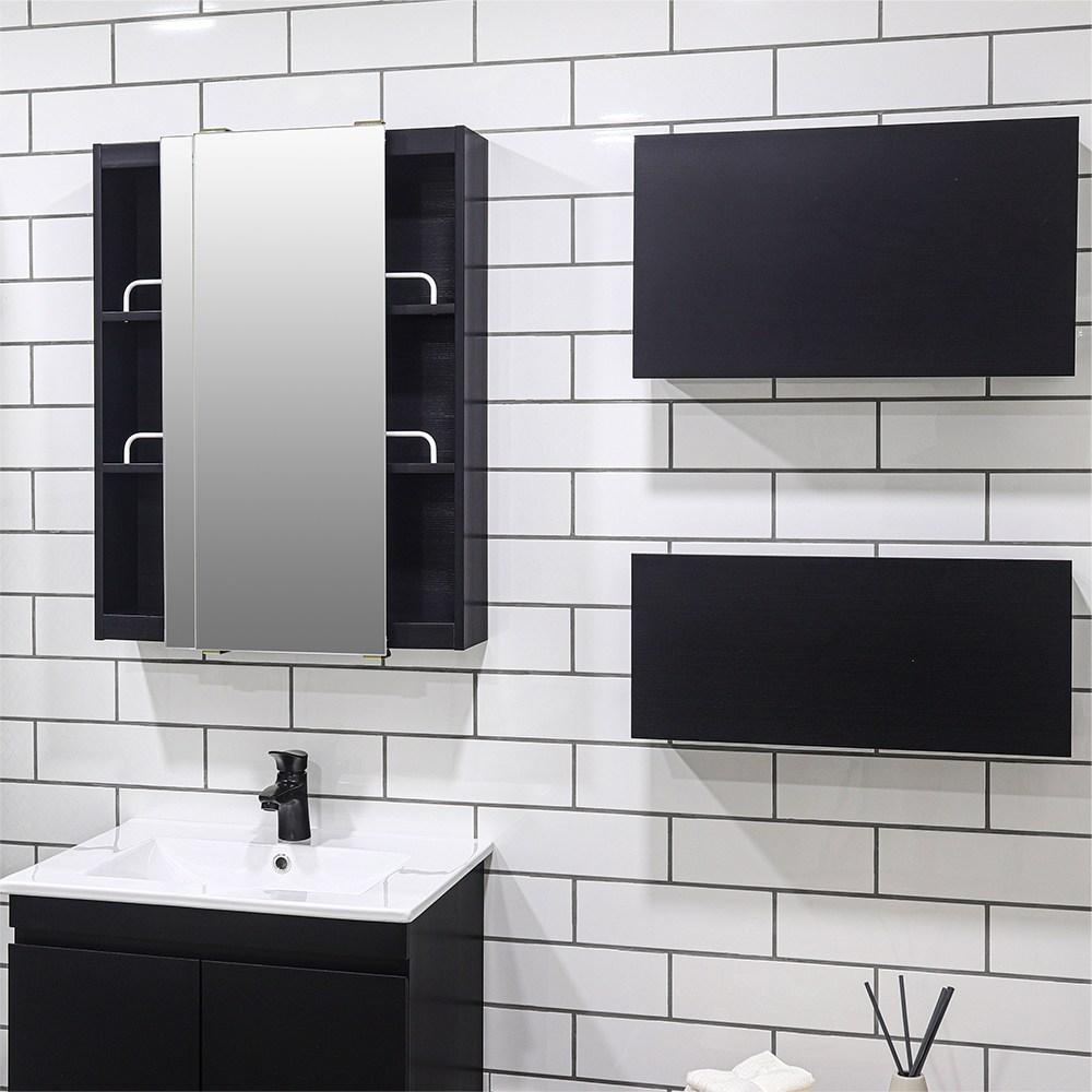 모카 전면 거울 슬라이드 도어 욕실 수납장(600X800), 블랙, 1개