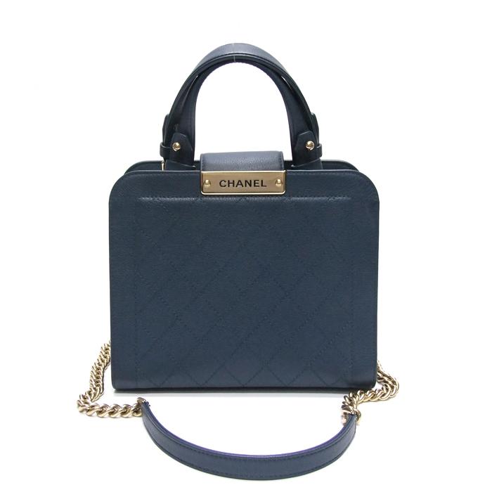 [뉴욕명품] Chanel(샤넬) 가방 블루 레더 라벨 클릭 쇼핑백 2-WAY(23번대)
