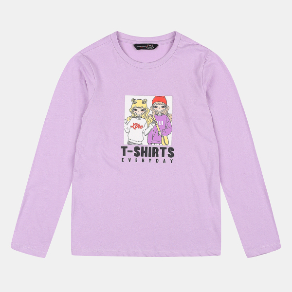 더데이걸 프린트 긴팔 티셔츠 TGLA19801