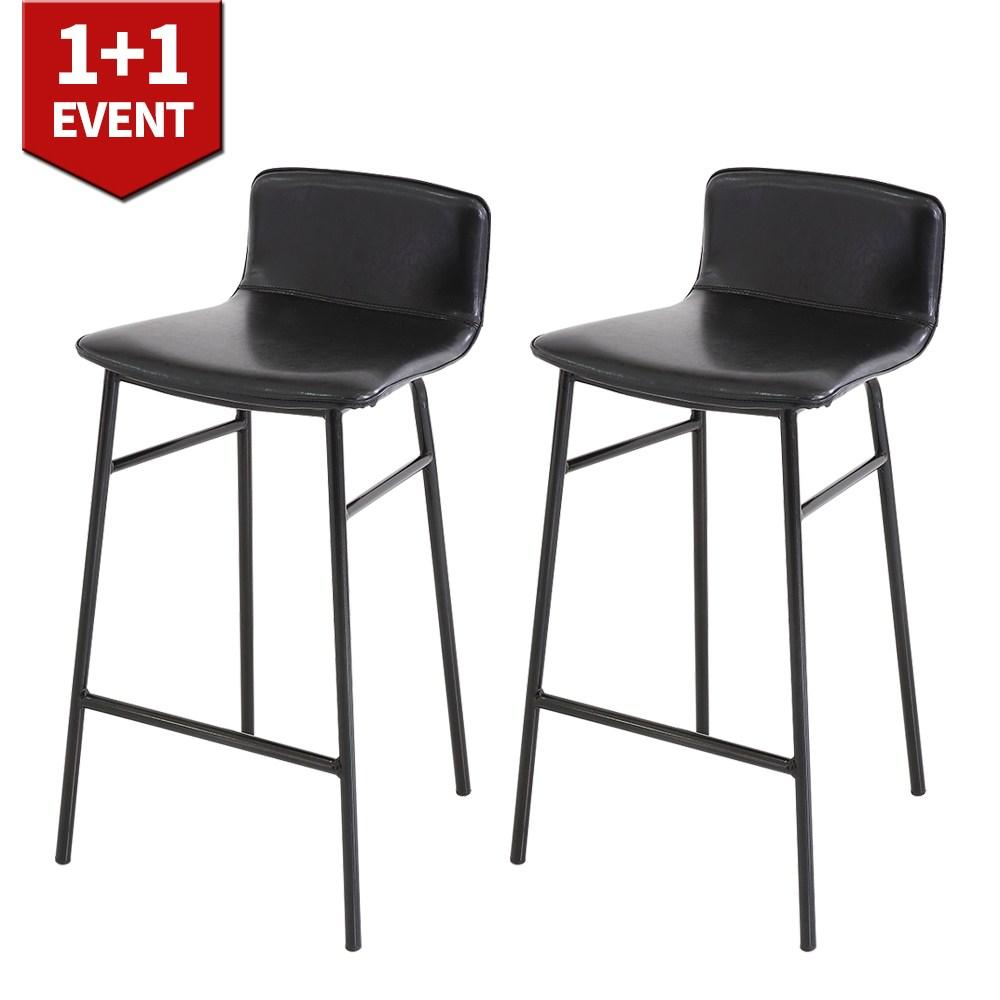 THEJOA 지니바체어 1+1 홈바체어 높은 빈티지 아일랜드 식탁 의자, 지니바체어-블랙 1+1