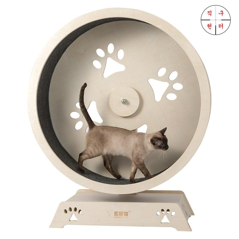 직구헌터 고양이 캣휠 쳇바퀴 운동기구 무소음 캣월 만들기, 중형set, 중형