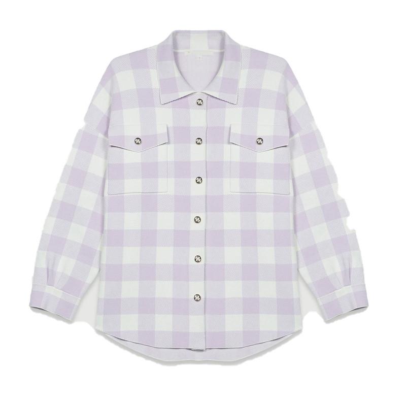 프릴 카라 세라 체크 자켓 포켓 여자 데일리 봄 가을 귀여운 셀럽 자켓