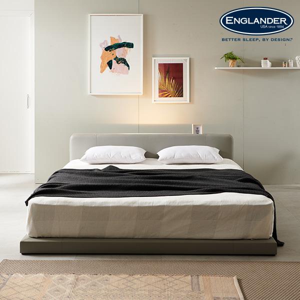 잉글랜더 줄리아 LED 저상형 가죽 침대(투톤 롤팩 펜타폼20T 7존 독립스프링-라지킹), 그레이
