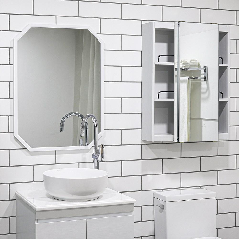 모카 전면 거울 슬라이드 도어 욕실 수납장(600X800), 화이트, 1개