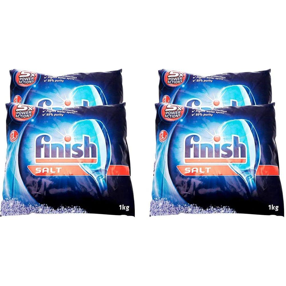 Finish 피니쉬 주방 식기세척기 세제 기능의 소금 가방 4팩 1000g, 1