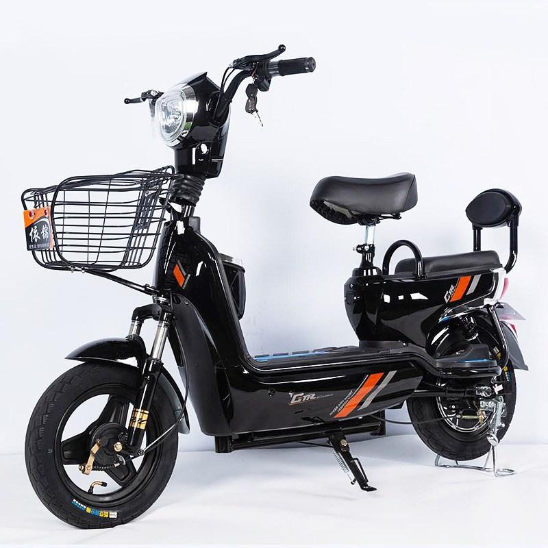 JSH 성인 전동차 전동 스쿠터 2인승 여성 조력 레저대보차 전기자전거, 48V20A-70KM블랙