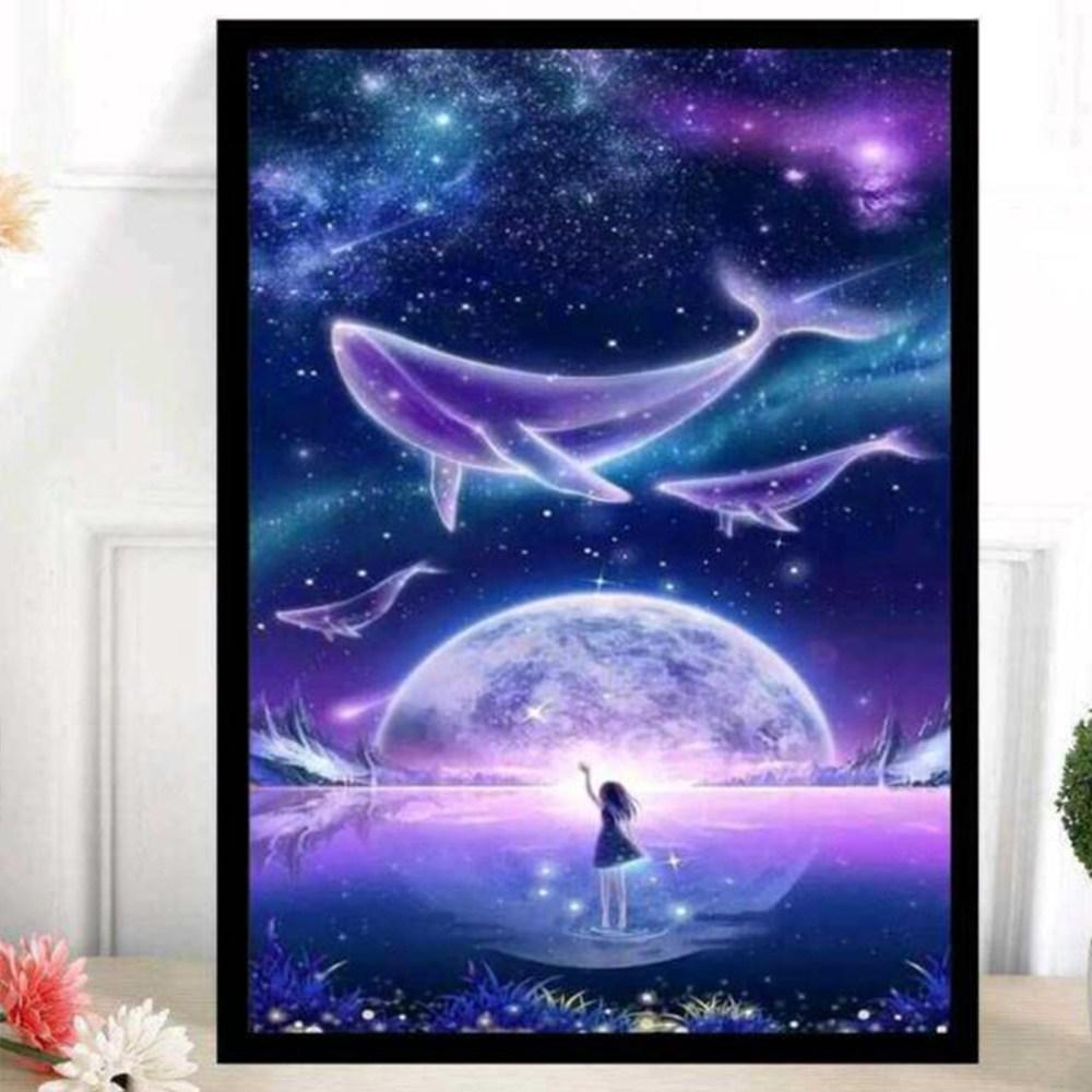 보석십자수 DIY 고래와 밤하늘 비즈 비즈공예, 50*65cm
