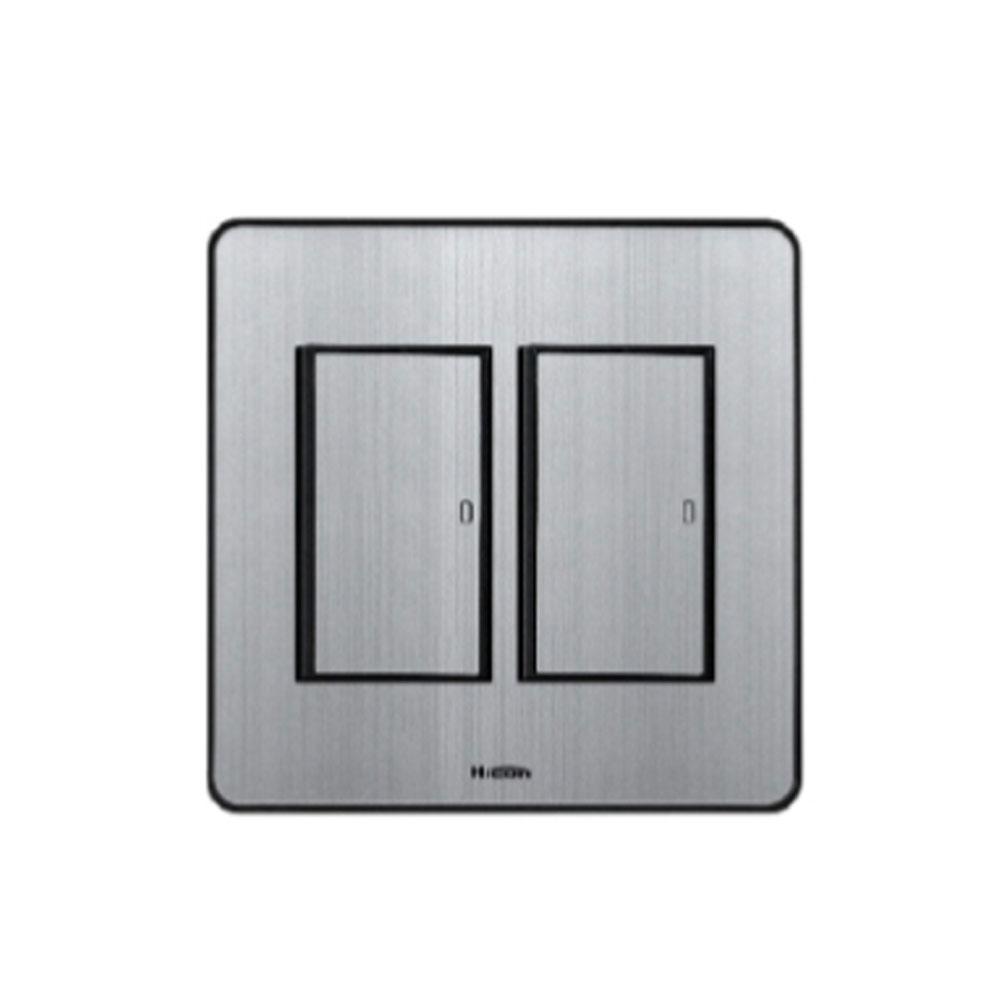 현대일렉트릭 타로시 현대 하이콘 스위치 콘센트 전화 TV 복합, 실버_스위치 2개용2구(1로)(하이콘)