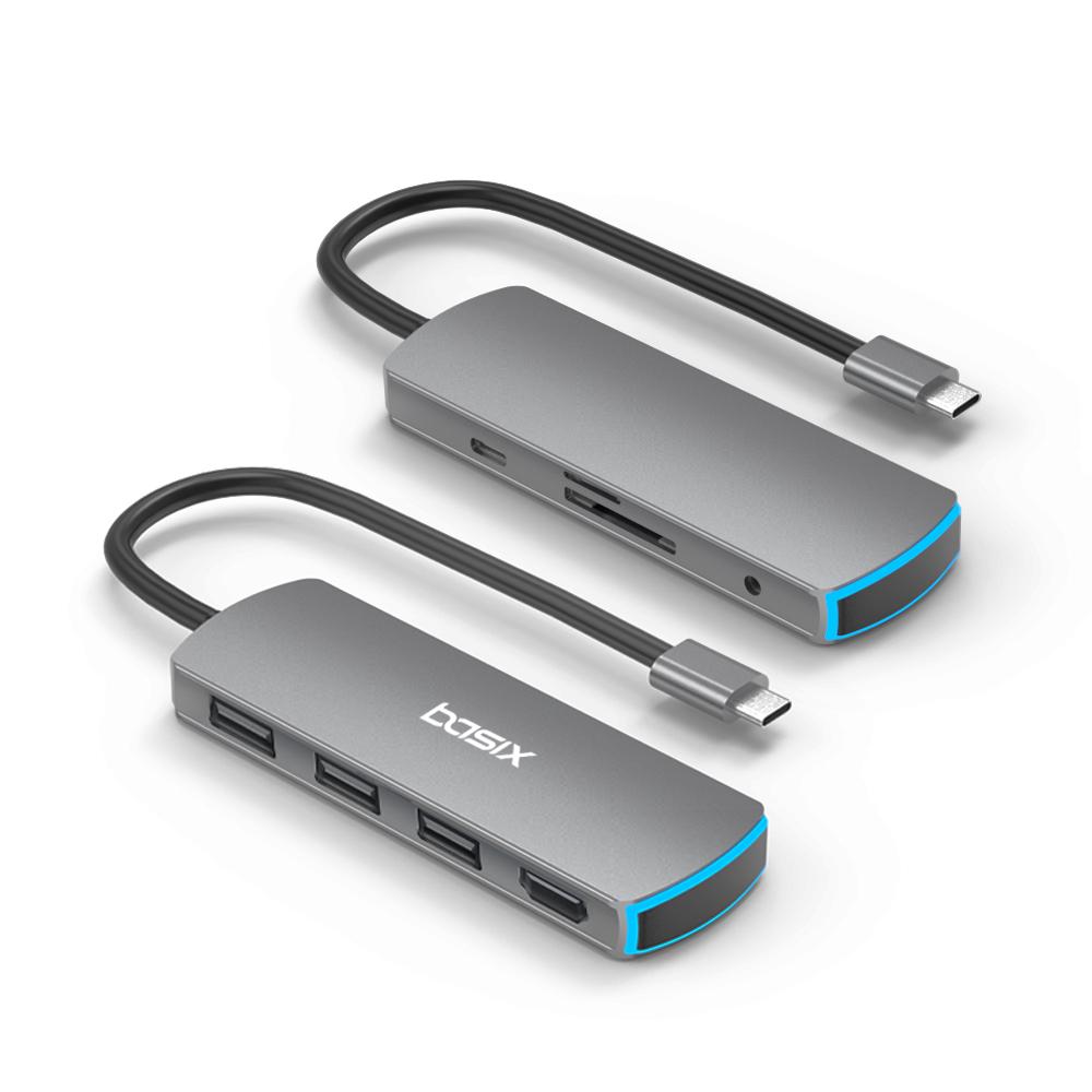 베이식스 USB C타입 맥북 멀티 허브 8in1 스마트폰 미러링 덱스 HDMI, 그레이