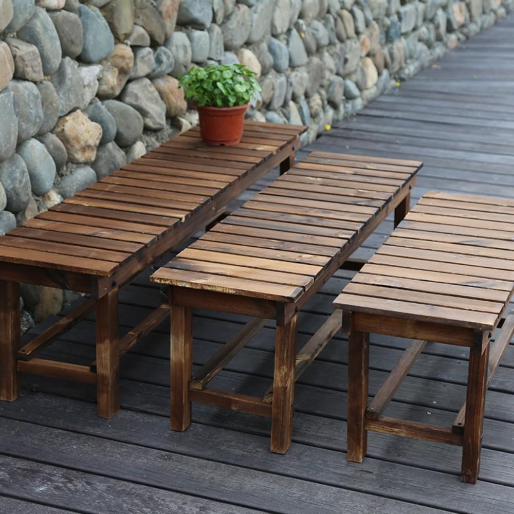 원목 벤치 정원 방부 나무 야외 의자 벤치 욕실 벤치, 두께 120cm (평행봉)