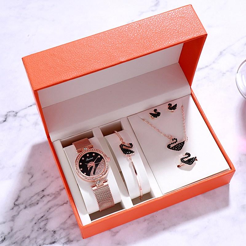 여성용 패션 시계 팔찌 5 종 세트 단순한 기질 야생 백조 방수 석영 라운드 다이얼