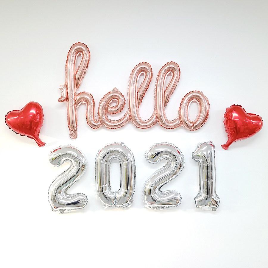 고백하는날 헬로 2021해피뉴이어 새해 신년해 컨페티풍선 은박풍선세트, 1세트, 03.로즈골드hello+실버2021+하트 은박풍선세트