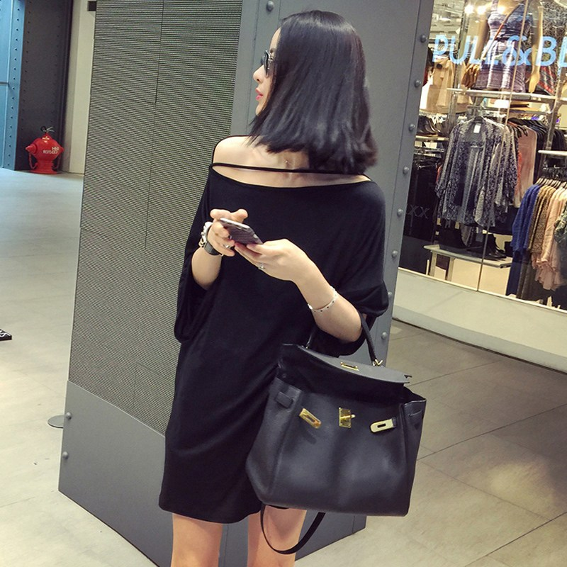 에이치엠글로벌 여름오프숄더원피스 일자 넥 어깨트임 여성의류 와이드 루즈핏 가오리셔츠 짧은 블랙 캐쥬얼 티셔츠 (POP 5498866616)