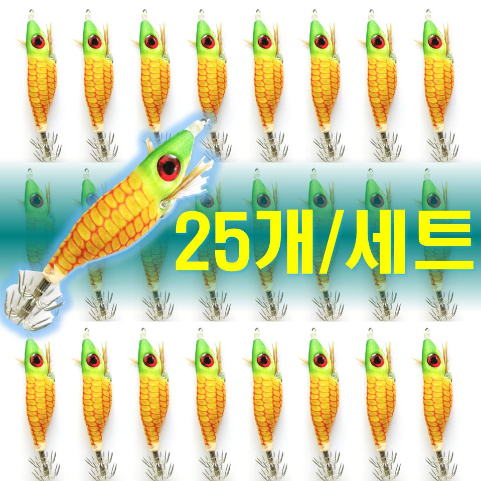 예피싱 25개입 왕눈이 에기 세트 쭈꾸미 갑오징어 문어채비 야광애기, YF12