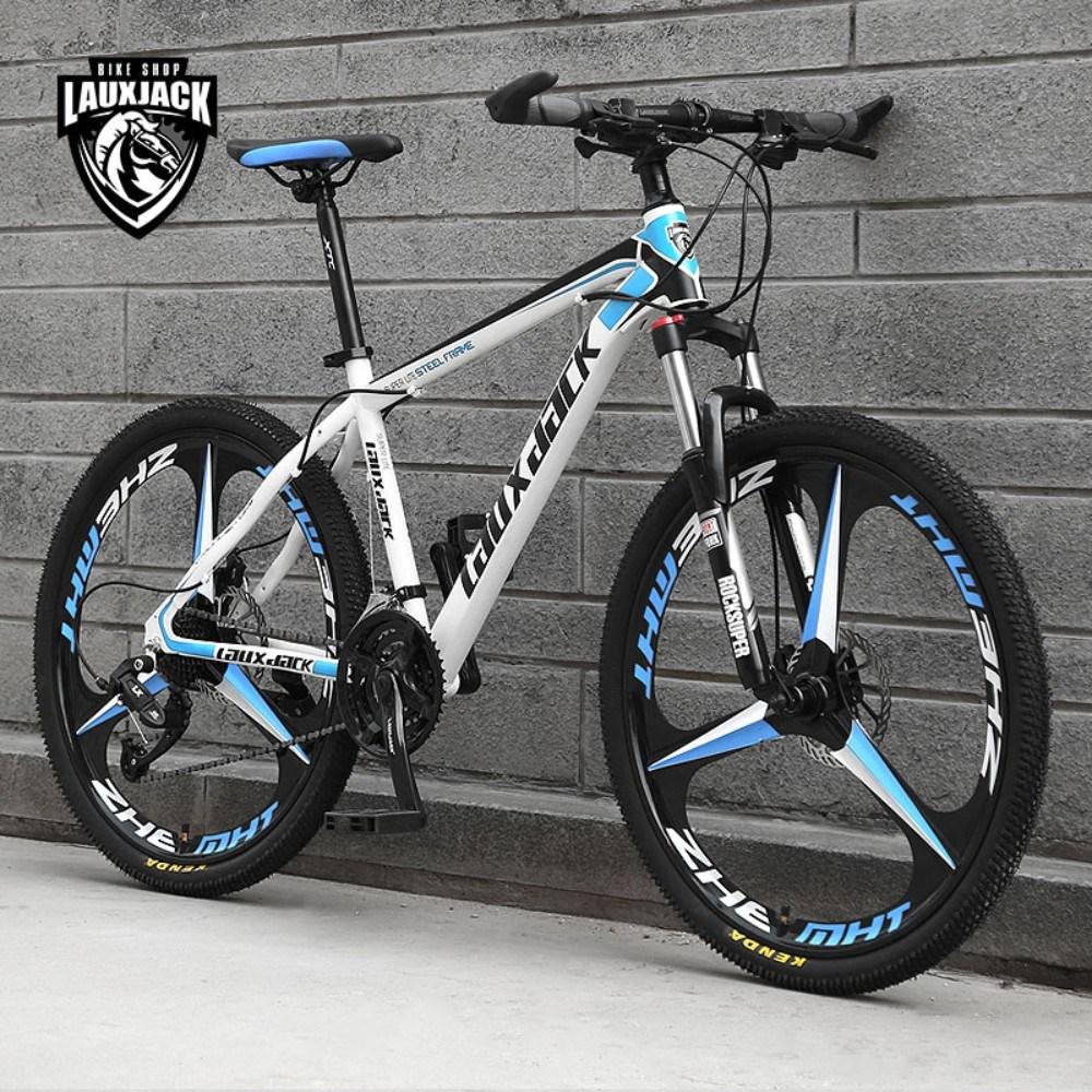 입문용 산악 MTB 바이크 Lauxjack 자전거 대륙 가성비 자전거, 24인치cm, 3Spoke-화이트 블루 + 21단