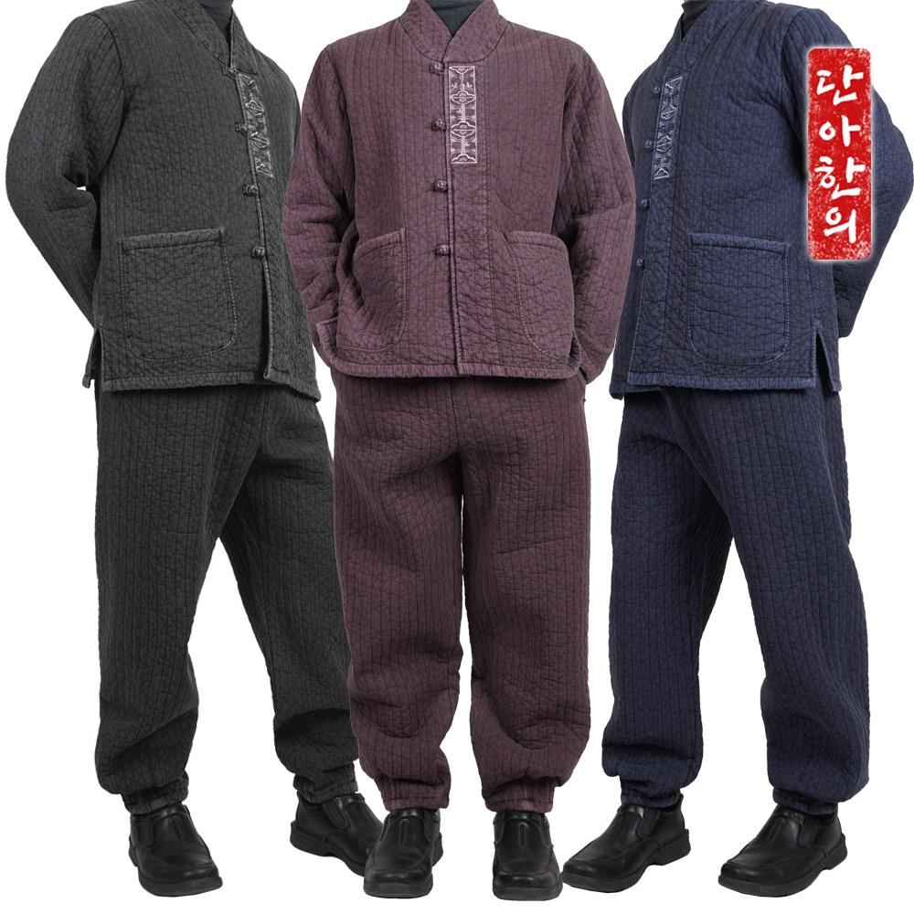 단아한의 개량한복 겨울 한겨울 기모안감 누빔 순면 저고리+바지 법복 설날 명절 한복 동천누비세트