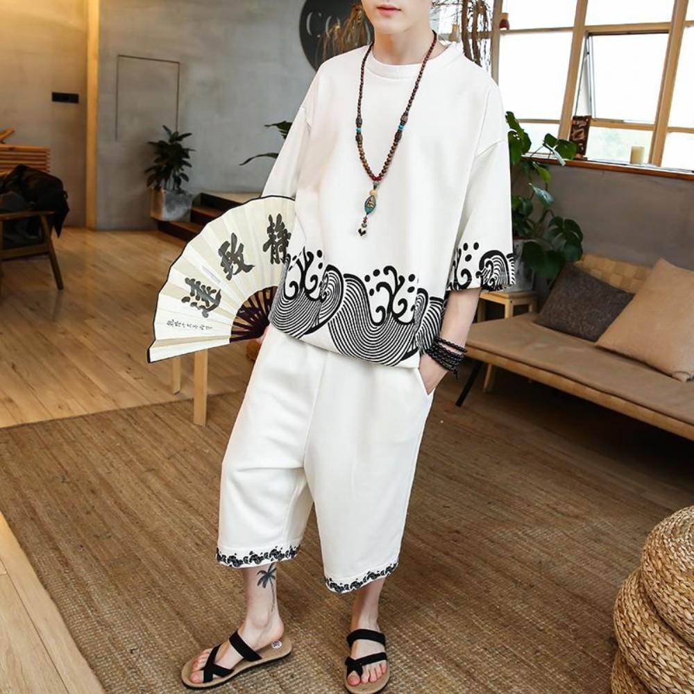남성 여름 개량 생활 퓨전 한복 복고풍 프린트 티셔츠 바지 투피스 세트