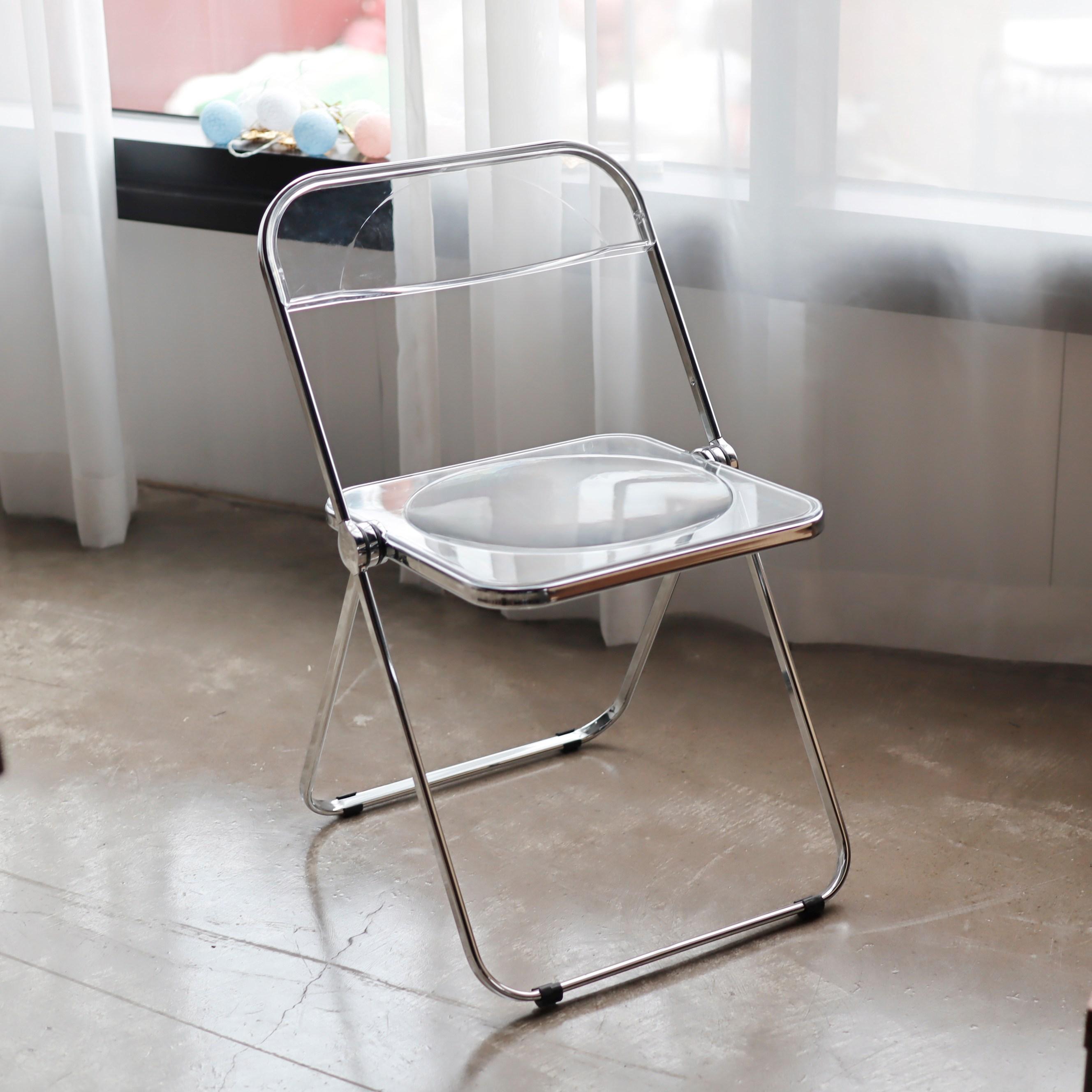 체나레 플리아 인테리어 접이식 투명 의자, 화이트