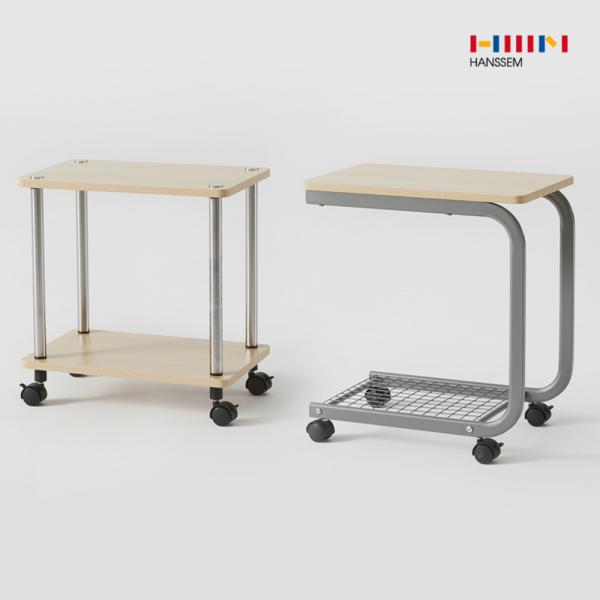 한샘 비앙 이동식 테이블 (2종 택1) 2단 선반 철제, 02.비앙 이동식 테이블(커브형)