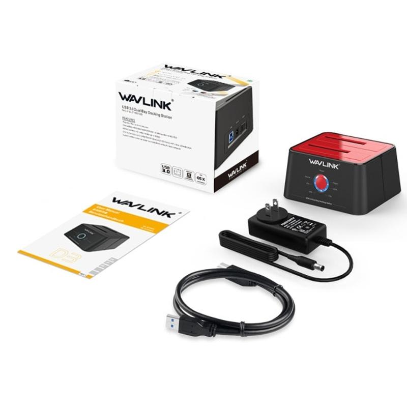 Wavlink USB 3.0 SATA 듀얼 베이 HDD 도킹 스테이션 2.5 3.5 인치 SATA 용 외장형 HDD SSD 8TB HDD 인클로저 오프라인 클론, 미국 플러그