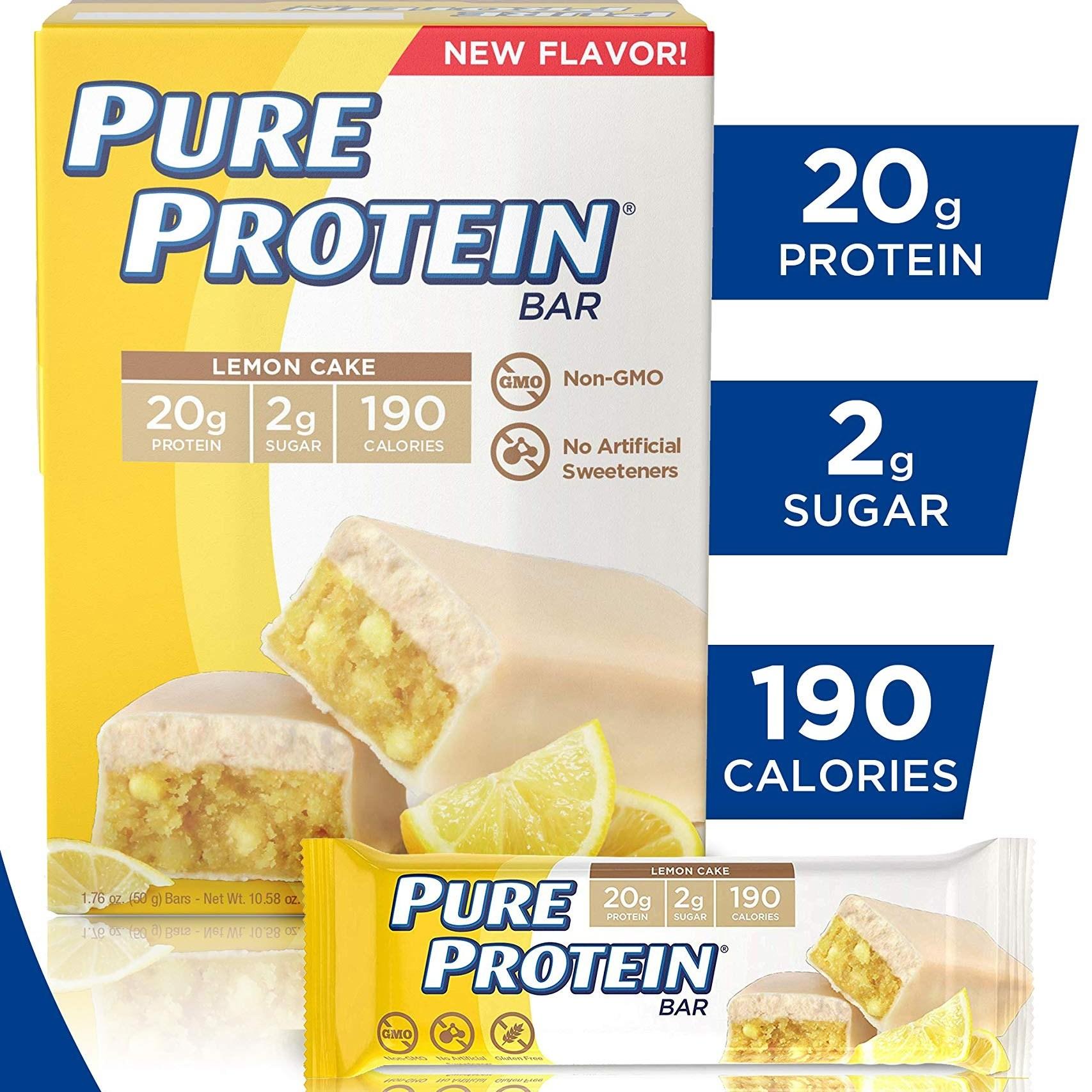퓨어 프로틴바 고단백 에너지 저당 글루텐프리 레몬 케이크 50g 12개입, 12개
