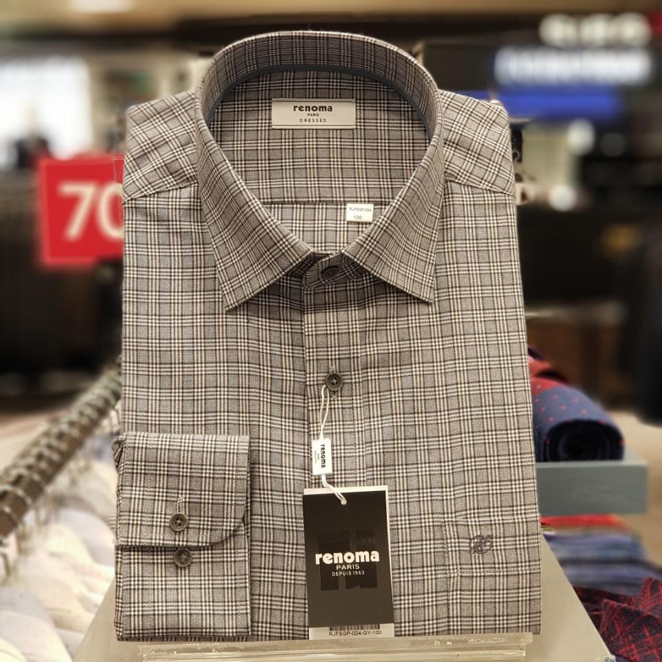 레노마 셔츠 #무료 배송#가격인하 그레이 목사 클린 체크 테이프 배색 일반 핏 남방