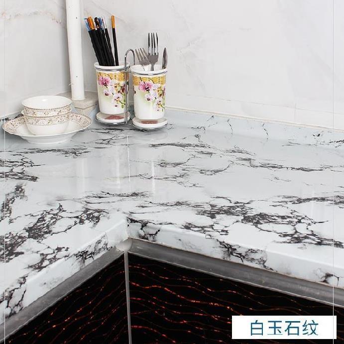 렌지대 주방 벽에붙이는스티커 방수 기름방지 방화 깨끗이닦는 연회석테이블 습기방지 인조, T07-백옥 석문(5미터길이)