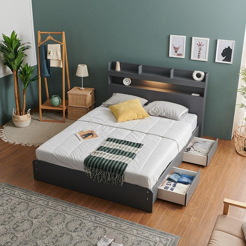 크렌시아 라피스 LED 일반서랍형 슈퍼싱글 퀸 침대+본넬 매트리스+방수커버, 그레이