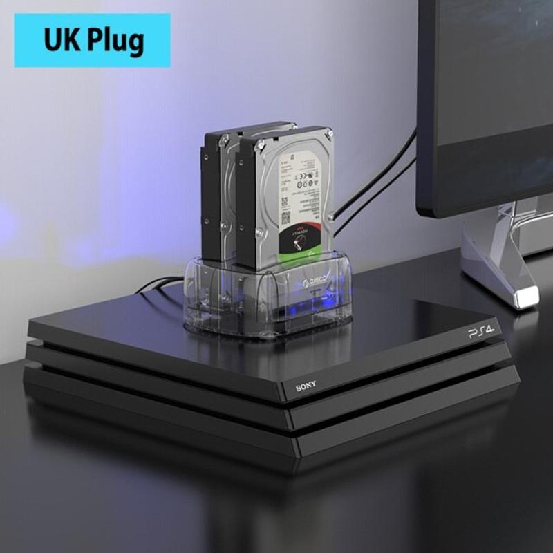 듀얼 베이 2.5 3.5 USB3.1 Type-C HDD 도킹 스테이션 외부 HDD 인클로저 오프라인 클론 지원 포함 24TB 최대 HDD 케이스, 협력사, 영국 플러그