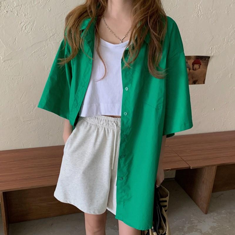 캣츠미 심플반팔셔츠 CHIC 여름 프렌치시크 카라넥 투포켓 하프기장 와이드 여성