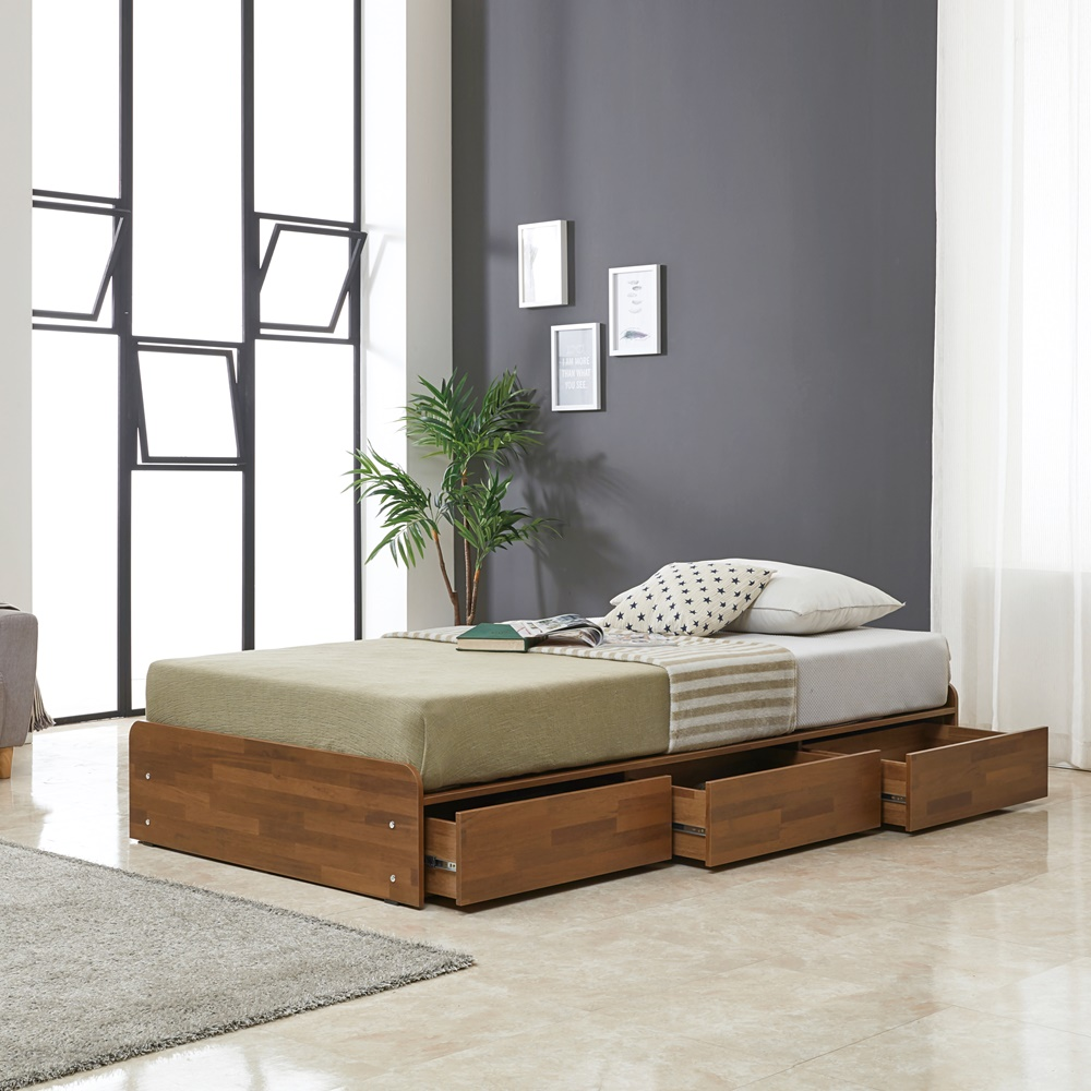 노랑나무 릴리 헤드없는 무헤드 수납 침대 프레임, 멀바우