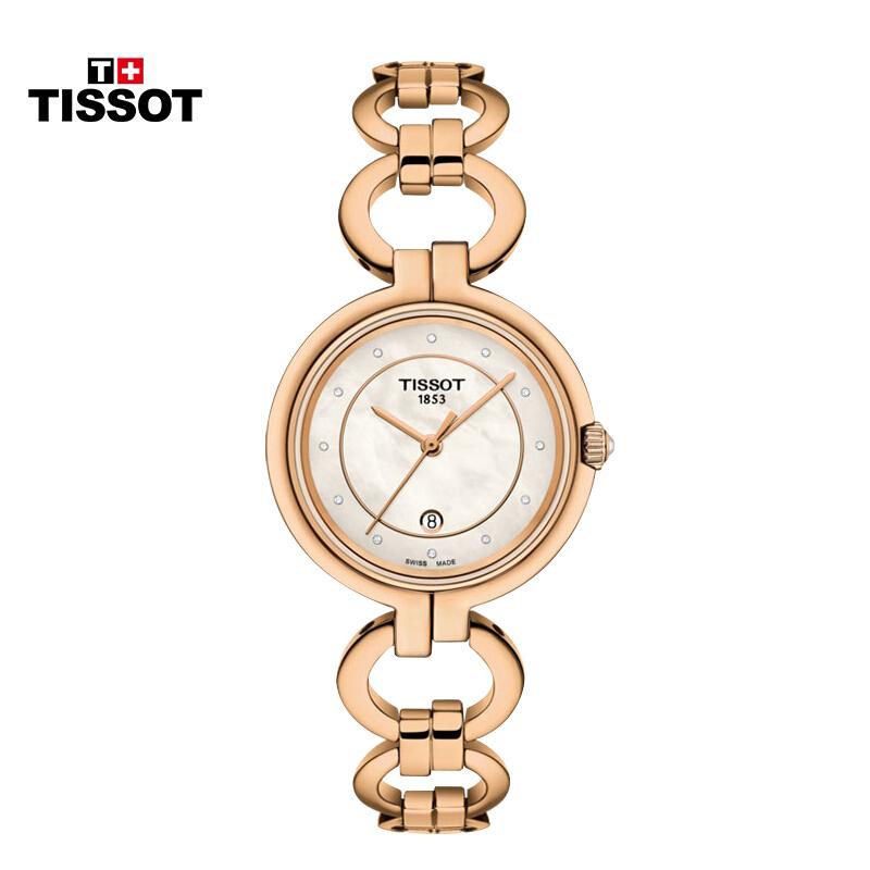티 쏘 (TISSOT) 스위스 시계 플 라 멩 고 시리즈 스틸 밴드 석영 여사 시계 T094.2.133.11601 백색 베 이 비 반 골 드