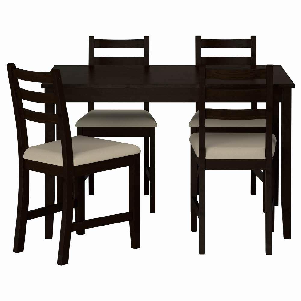 테이블+의자4 블랙브라운 비타뤼드 베이지 LERHAMN 118x74 cm, 기본