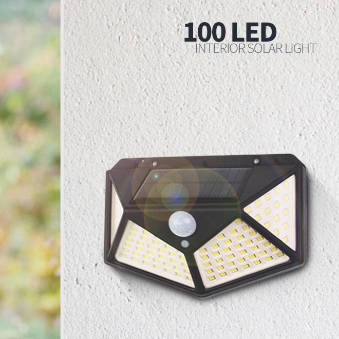 솔라콤 태양광 100LED 감지 벽부등 센서등 야외조명 태양열 정원등 인테리어조명, 태양광 100구 감지 벽부등