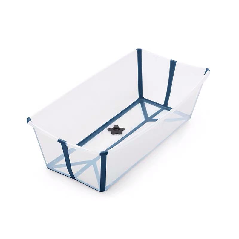 STOKKE 베이비 샤워 접이식 욕조 스토케 아기욕조 접이식 욕조 물놀이, 투명한 진한 파란색 확대 버전 스팟-4-1854869404