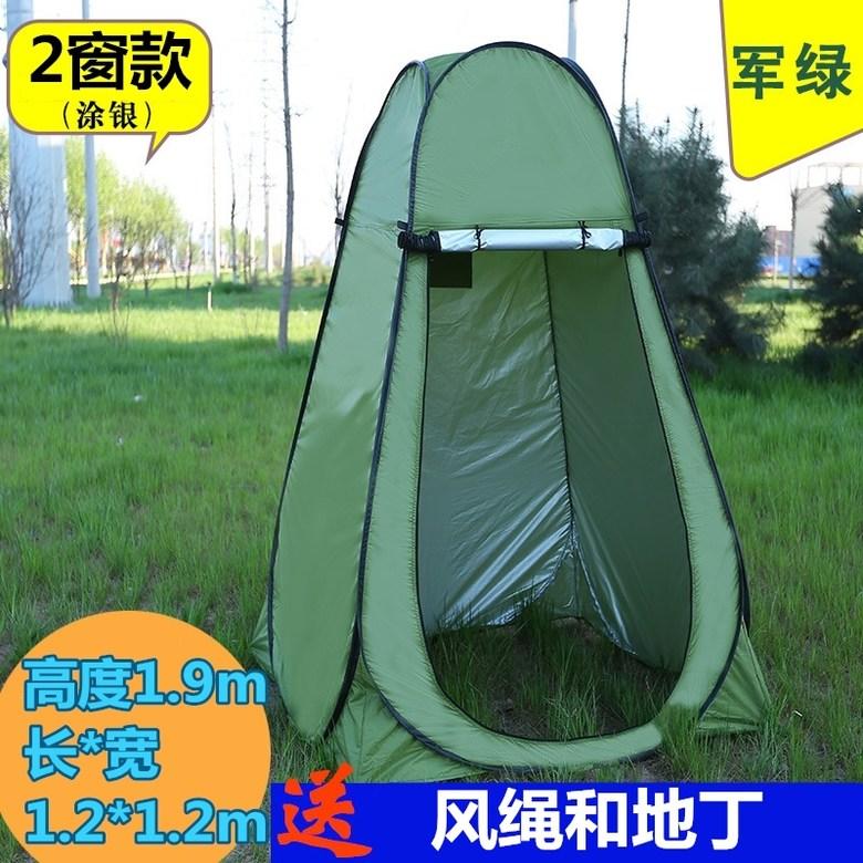 원터치 이동식 캠핑 간이 샤워 텐트 부스 야외 캠핑용 탈의실 화장실 탈의, 육군 녹색은 코팅 2 창 너비 1.2 높이 1.9 반투명 방수 및 따뜻한개