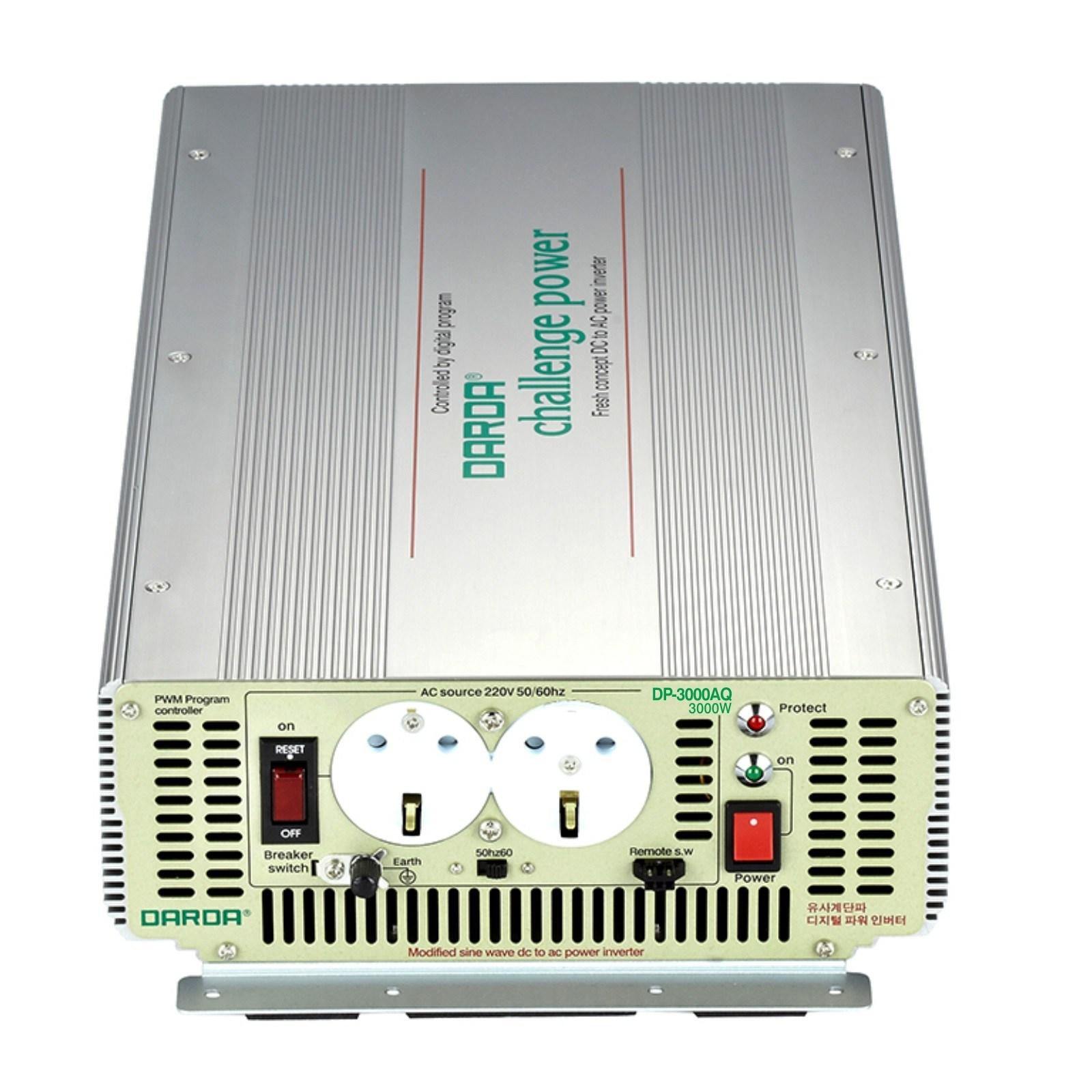 DARDA 차량용 인버터 DP-3000AQ 배터리 DC 12V 3000W 3kw 다르다 피앤케이하이테크 24V 3k 국산 정품 자동차용 안전인증, 1개