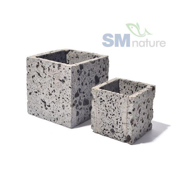SM 현무암 숨쉬는 화분 (7x7x7cm) 정사각